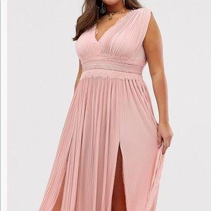 ASOS CURVE Premium Lace Pleated Maxi Dress US 20